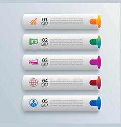 Tube infographics with 5 data horizontal template vector