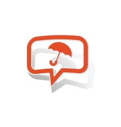Umbrella message sticker orange vector