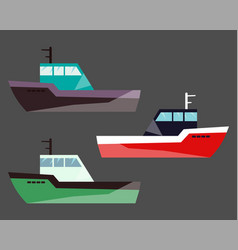 version fishing ships water isolated flat vector image