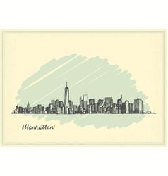 vintage postcard with sketch manhattan new york vector image