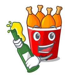 With beer fried chicken bucket isolated on mascot vector
