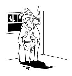 Wizard line drawing vector