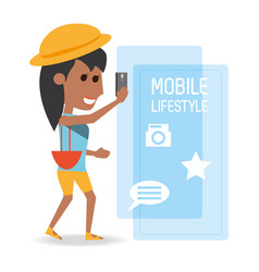 woman with smartphone in the hand and vector image
