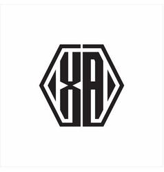 Xa logo monogram with hexagon line rounded design vector