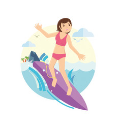 young girl surfing on the waves vector image
