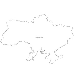 Black White Ukraine Outline Map vector image