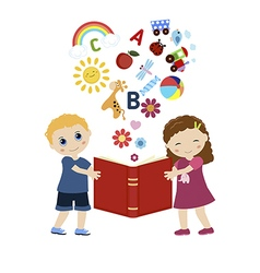 Children holding a book vector image