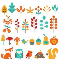 Cute autumn design elements vector