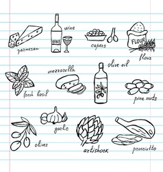 hand drawn food ingredients vector image