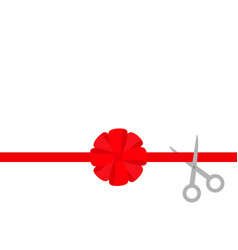 scissors cut straight red ribbon big round bow vector image vector image
