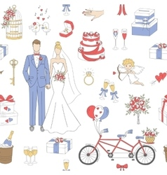 Wedding seamless background vector image vector image