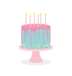 Birthday cake with frosting and burning candles vector image vector image