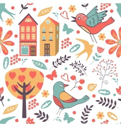 Colorful pattern with birds flowers and houses vector