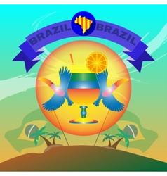 Digital blue ribbon brazil party vector image