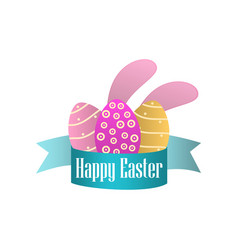 happy easter ribbon easter eggs and rabbit ears vector image