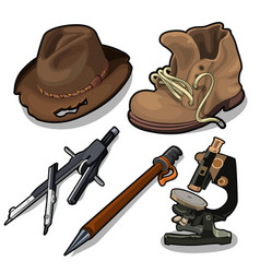 old hat shoes microscope and other equipment vector image vector image