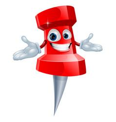 push pin office supply mascot vector image vector image