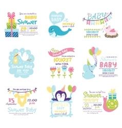 Baby shower invitation set vector image
