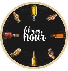Coaster for alcohol drinks with bottle and hand vector image