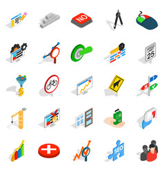Determination icons set isometric style vector