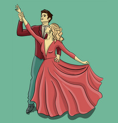 a guy in a red tuxedo and a girl in a puffy pink vector image