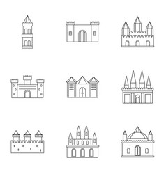 ancient fortresses icon set outline style vector image vector image