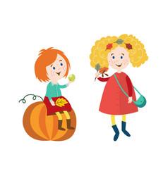 children doing autumn activity set vector image vector image