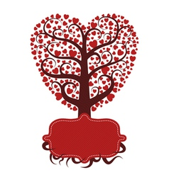 Love tree with banner vector image vector image