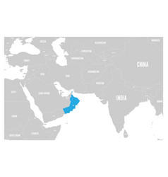 oman blue marked in political map of south asia vector image vector image