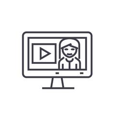 online tutorialseducation in monitor line vector image
