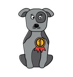pet dog with medal sitting animal domestic vector image vector image