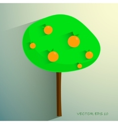 simple stylized orange tree on light background vector image vector image