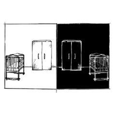 Sketch children bedroom room front view on vector