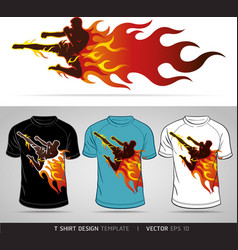 T-shirt design boxing sport with fire vector image