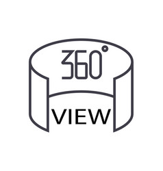 360 view concept thin line icon symbol vector image