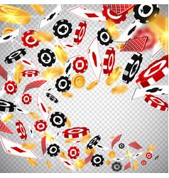 3d dollar gold coinsholdem poker casino chips vector image