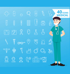 40 icons medical and healthcare for infographic vector image