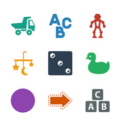 9 toy icons vector image