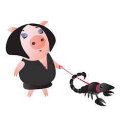 a cute piggy leads a scorpion on a leash vector image