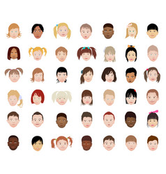 a set of kids head icon collection vector image