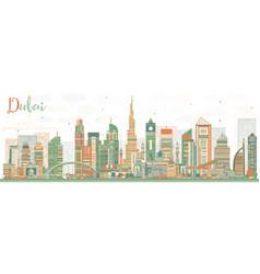 Abstract dubai uae skyline with color buildings vector
