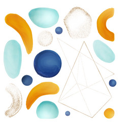 abstract geometric brushes and watercolor shapes vector image