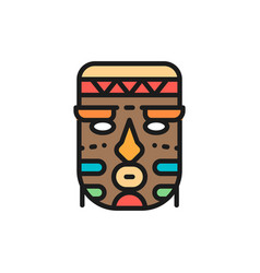 african ethnic tribal mask flat color line vector image