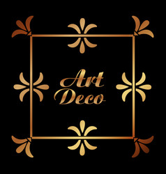 Art deco ornamental decorative frame floral vector