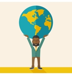Black Businessman carrying big globe vector