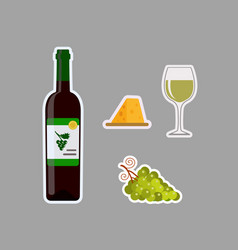 bottle of white wine wine glass grapes and vector image