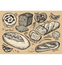 bread bakery hand drawn sketches of food vector image