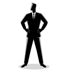 Businessman standing with both hand around waist vector