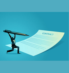 businessman with giant pen and paper signing vector image