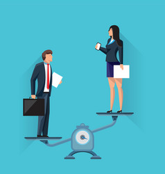 Businesswoman on scales with businessman vector